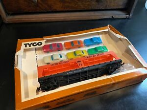 """Tyco HO Scale """"Trailer Train"""" Autoloader #349 With 6 Autos/Cars In Original Box"""
