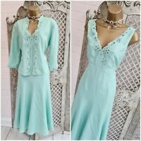 PLATINUM 💋UK M Turquoise Floral Fit & Flare Dress & Jacket Suit Mother of Bride