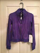 Lululemon Sweaty Or Not Jacket NWT Sz 4 IRSF Iris Flower Purple Color Perforated