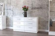 Birlea Lynx High Gloss All White 6 drawer midi chest  bedroom furniture new