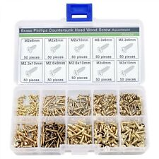 500 Piece Brass Plated Small Metal Screws Self-Tapping Screws Teeth