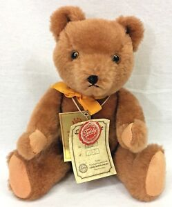 """Gebr Hermann Teddy Bear Brown 11"""" Jointed Plush Orange Ribbon Tags West Germany"""