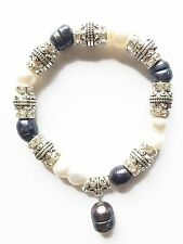 Grey/Black Freshwater Pearl Drop,crystal Spacer With Metal Ball Stretch Bracelet