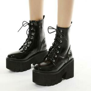 Women Ankle Boots Lace Up High Chunky Heel Platform Side Zip Shoes Boot Clubwear