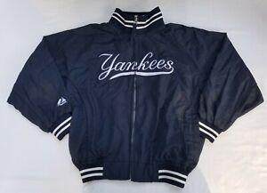 Vintage Majestic New York Yankees Satin Jacket Youth M Blue Baseball Boy Girl
