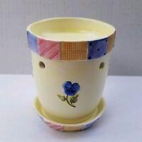 Yankee Candle Tart Warmer Ceramic Burner Yellow Flowerpot Patchwork Border Pansy
