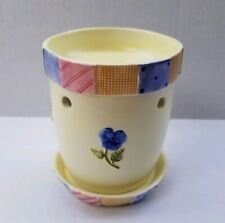 Yankee Candle Tart Warmer Ceramic Burner Yellow Flowerpot Patchwork Border Pansy
