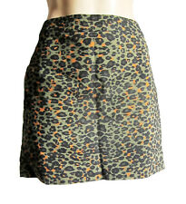 h&m Verde/Negro/Naranja Estampado Leopardo mini-skirt, talla UK 10 , EU 38 , 38