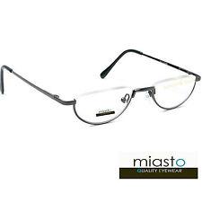 ~LOT OF 2~ MIASTO SEMI RIMLESS METAL OVAL MOON HALF READER READING GLASSES +1.25