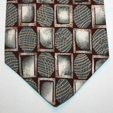 NEW Strathmore Silk Neck Tie Burgundy with Green and White Pattern 873