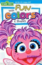 Sesame Street Write-On Wipe-Off FUN WITH COLORS & SHAPES Laminated Workbook 4+