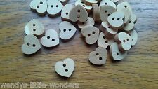 200 Wooden Heart Buttons 1.1cm Beads Cards Haberdashery