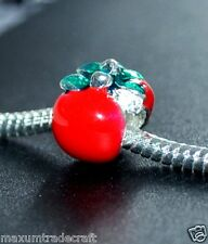 5pcs alloy red apple spacer beads fit european snake chain 10mm