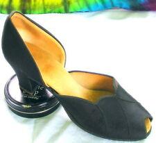 7-7.5 vtg black Daniel Green slippers peep-toe shoes