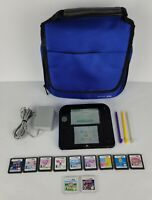 Nintendo 2DS Launch Edition Blue Black Handheld System 3 Stylus SD Charger Case