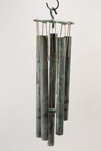 Walter Lamb Style Verdigris Bronze/Copper Wind Chimes Vintage Mid-Century Modern