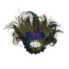 Vintage Peacock Feather HAIR CLIP Fascinator Bridesmaids 1920s Flapper Party