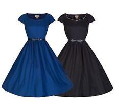 Nuevo CON ETIQUETAS Lindy Bop Tara Vestido Talla 18 Negro Vintage Swing Dress