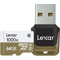 Lexar 64GB Professional 1000x UHS-II Micro SDXC Class 10 U3 3D 4K Memory Card