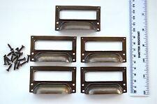 A set of 5 vintage aged brass filing cabinet label holder drawer pull handle FD2
