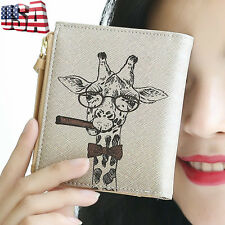 Retro Women Giraffe Bifold Wallet Clip Clutch Card Holder Purse Lady Handbag US