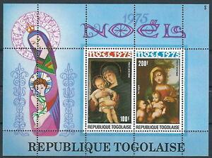 Togo - Weihnachten Madonnengemälde Block 99 postfrisch 1975 Mi. 1134-1135