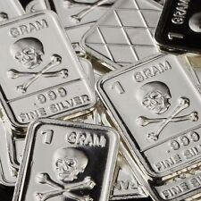 """Skull & Crossbones"" Design. Lot of 10, 1 gram .999 Fine silver bullion bar. NEW"