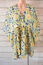 COUNTRY ROAD Top Over Sz Small 10 12 14 yellow blue tunic kaftan cotton