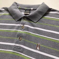 Hush Puppies Green & Grey Striped Cotton Polo Shirt (Medium, Mod, Basset Hound)
