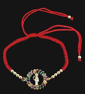 14kt Gold Plated Santa Muerte Holy Death Grim Reaper Bracelet Adjustable