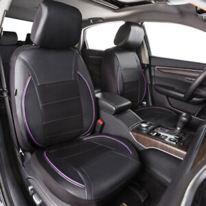 Universal Purple Black pu leather 2 Front Car Seat Covers Protector Seat for van