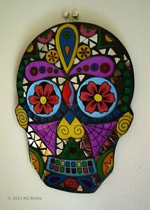 Day of the Dead Mosaic Skull Hanging Mask Wall Art Shabby Chic Handmade Gift New