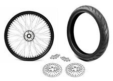 21 3.5 60 Black Spoke Front Wheel Black Tire Harley Touring Package 00-07 DDBW