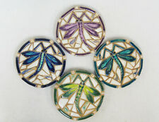 DRAGONFLY Coasters / Trivets / Mosaic Tiles / Handmade Ceramic Tiles  set of 4