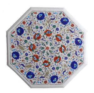 "marble Table Top 23"" Inlay stones art Work handmade home Decor"