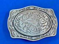 Silver tone metal western belt buckle by The Great American Buckle Company