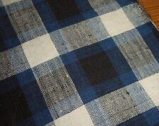 Antique French Loom Woven  Indigo Blue & Black Linen Homespun Fabric ~