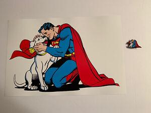 Superman & Krypto Set Lapel Pin And Large Art Print Free Shipping