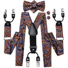 USA Silk Adult Men's Suspenders Bowtie Set 6 Clips Braces Pants Braces Straps