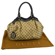 Authentic GUCCI GG Pattern Hand Tote Bag Purse Black Brown Italy Vintage BT13925