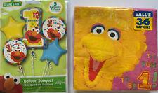 Sesame Street 1st Birthday Party Mylar Balloons Elmo Big Bird Napkins Supplies