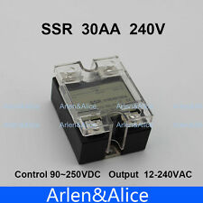 30AA SSR input 90-250V AC load 12-240V AC single phase AC solid state relay