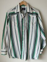 Panhandle Slim Vtg White Green Stripe L/S Pearl Snap Western Shirt Mens Sz 17-35