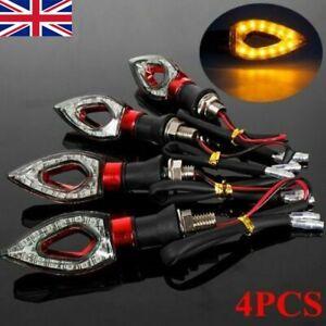 4x 12 LED Motorcycle Motorbike Turn Signal Indicators Light Lamp Amber Universal