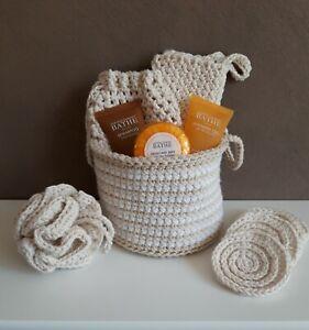 Crochet Cotton Spa / Bath Shower Gift Set / Pamper Kit Eco Friendly Reusable