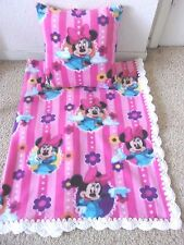 MINNIE MOUSE STRIPE -BABY-TODDLER-BLANKET-FLEECE-CROCHET-EDGE-PILLOW-CASE
