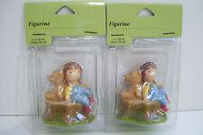 "Hallmark Boy & Dog Or Bear Sitting On Tree Stump 2.5"" Tall  Figurine Set Of 2"