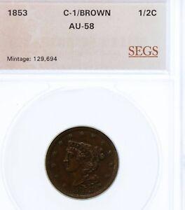 1853 Braided Hair Half Cent  C-1 : AU ++