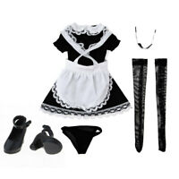 1/6 Scale Maid Dress Set & Black Shoes for 12 inch Action Figure Hot Toys