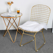 Modern Golden Wide Side Backrest Mesh Dinning Chairs Lounge Cafe Accent Seats